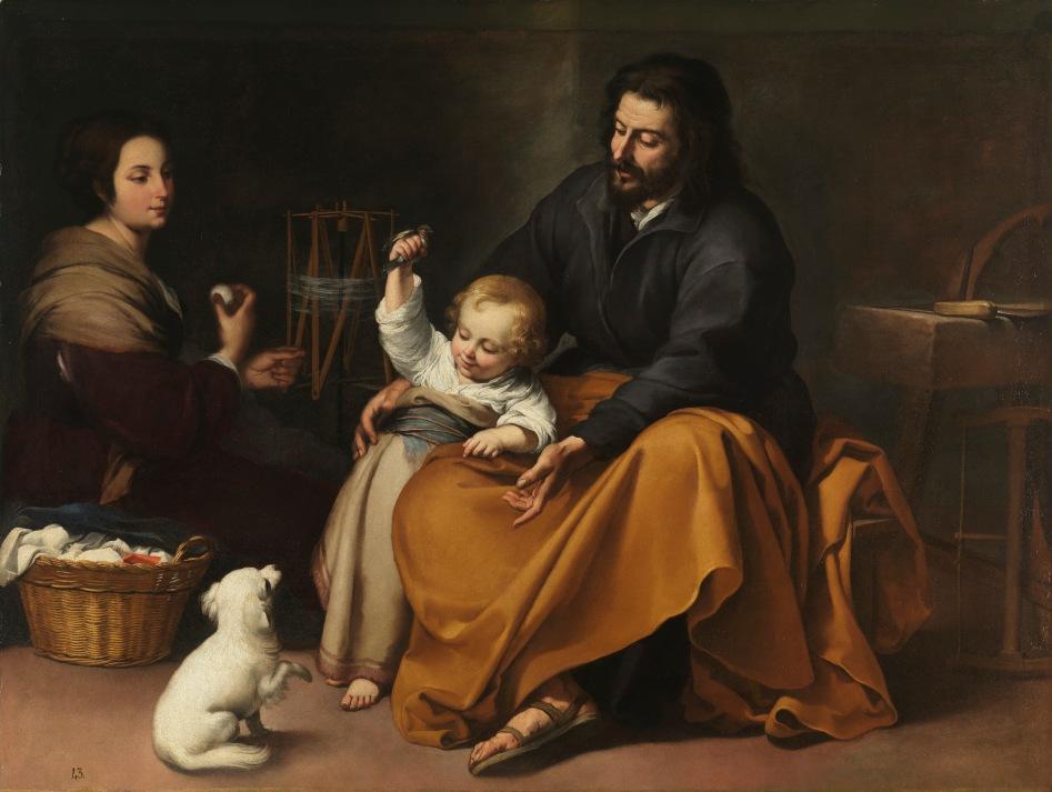 Sagrada familia del pajarito. Hacia 1650. Bartolomé Esteban Murillo. Museo Nacional del Prado