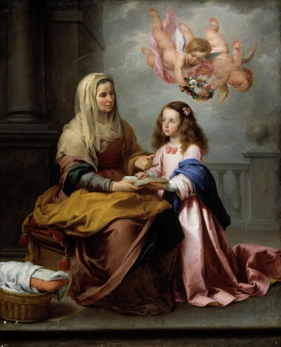 Santa Ana enseñando a leer a la Virgen. Hacia 1655. Bartolomé Esteban Murillo. Museo Nacional del Prado