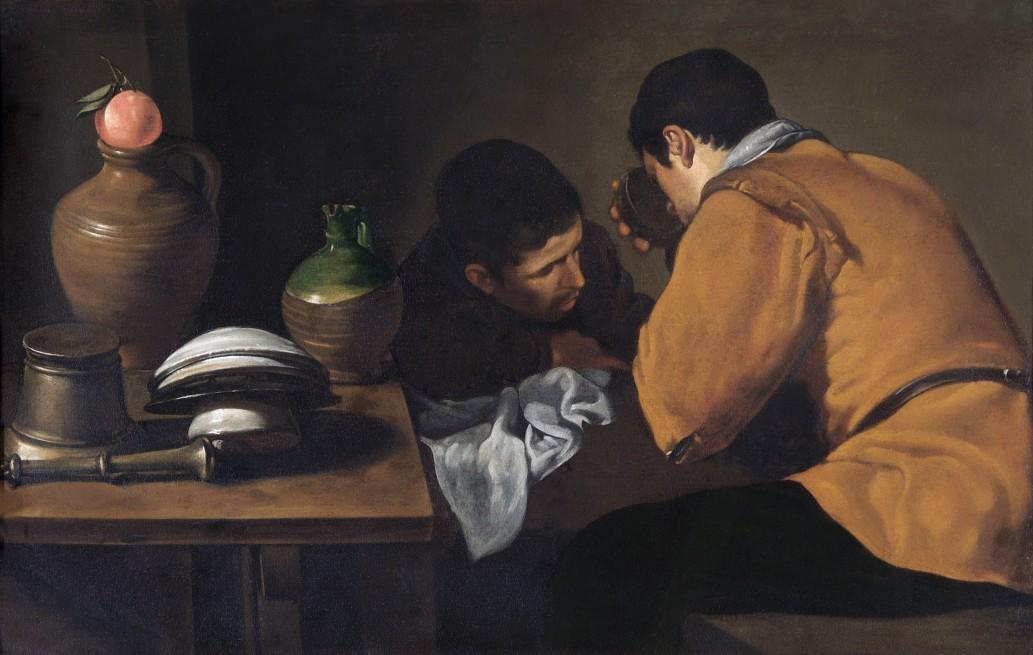 Dos jóvenes a la mesa. Hacia 1622. Diego Velázquez. Wellington Collection at Apsley House