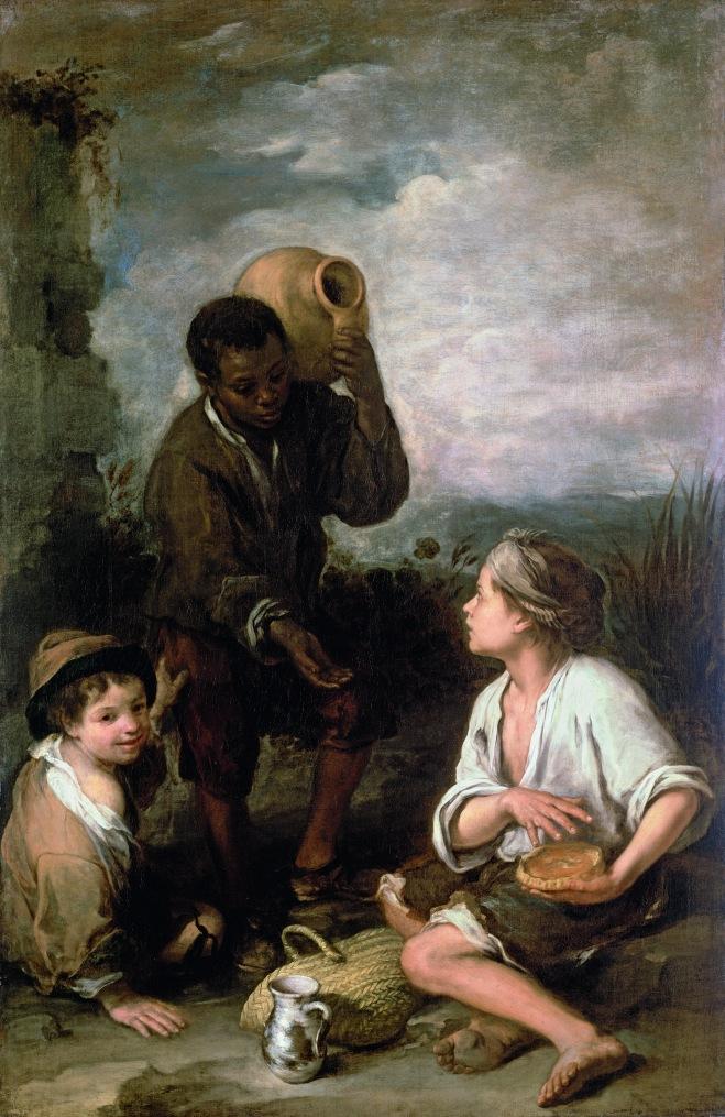 Tres muchachos. H. 1670. Bartolomé Esteban Murillo. Dulwich Picture Gallery
